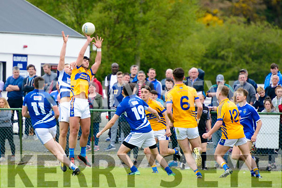 Peter Crowley (Laune Rangers) in action against Jeff O'Donoghue (Glenflesk) at the Intermediate Club Championship in Glenflesk last Sunday. Final score Glenflesk 0-13, Laune Rangers 3-07.