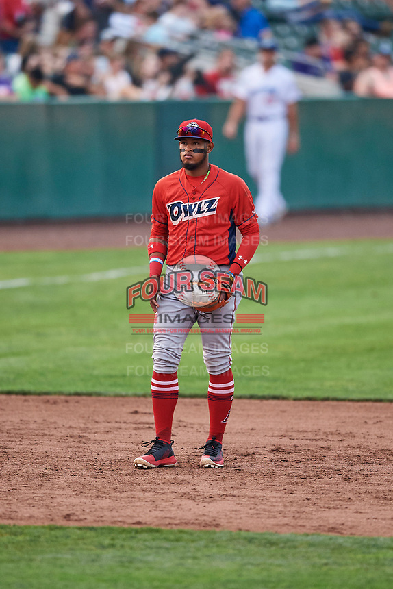 Kevin Maitan (9) of the Orem Owlz on defense against the Ogden Raptors at Lindquist Field on August 4, 2018 in Ogden, Utah. The Owlz defeated the Raptors 15-12. (Stephen Smith/Four Seam Images)