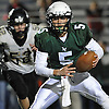 Locust Valley quarterback No. 5 Tyler Liantonio picks up yards on a keep during a Nassau County varsity football Conference IV semifinal against West Hempstead at Hofstra University on Thursday, Nov. 12, 2015. He attempted one pass and ran for 12 yards. Locust Valley won 34-10.<br /> <br /> James Escher