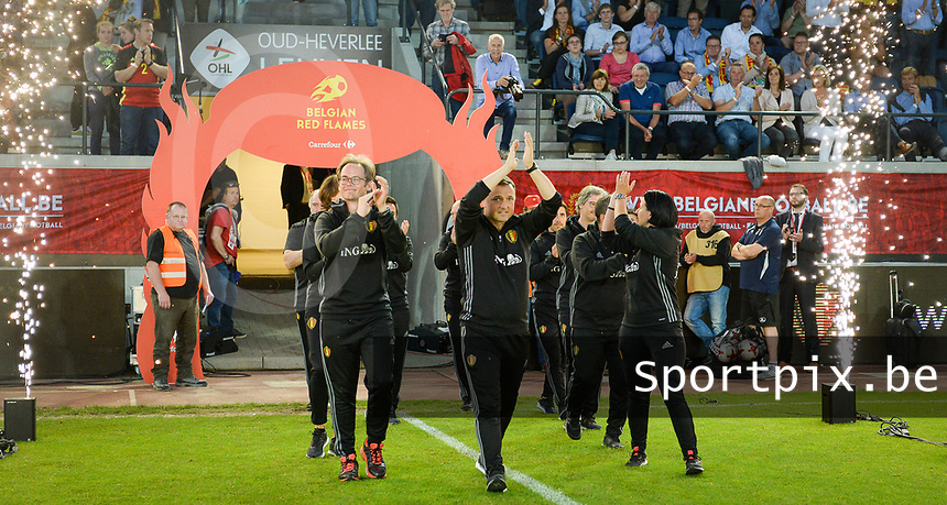 20170613 - LEUVEN ,  BELGIUM : Belgian team pictured being introduced to the fans and getting a good luck to the EK2017 after the friendly female soccer game between the Belgian Red Flames and JAPAN , a friendly game in the preparation for the European Championship in The Netherlands 2017  , Tuesday 13 th June 2017 at Stadion Den Dreef  in Leuven , Belgium. PHOTO SPORTPIX.BE | DAVID CATRY