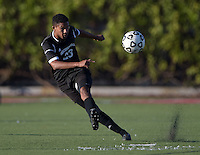 Oct 29, 2014; Orange, CA, USA; Occidental College Tigers midfielder Valdair Martins-Lopes (23) against the Chapman College Panthers. Photo by Kirby Lee