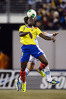 Ecuador forward Felipe Caicedo (8) goes up for a header. Argentina and Ecuador played to a 0-0 tie during an international friendly at MetLife Stadium in East Rutherford, NJ, on November 15, 2013.
