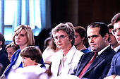 Judge Anthony Scalia of the United States Court of Appeals for the District of Columbia Circuit, his wife Maureen and their children listen to opening remarks before he testifies before the US Senate Judiciary Committee on his nomination by US President Ronald Reagan to be Associate Justice of the Supreme Court of the United States in Washington, DC on August 5, 1986.<br /> Credit: Arnie Sachs / CNP