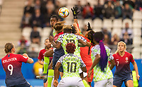 REIMS, FRANCE - JUNE 08: Tochukwu Oluehi #1 goes up for a save during a game between Norway and Nigeria at Stade Auguste-Delaune on June 8, 2019 in Reims, France.