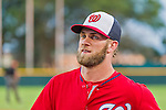 5 March 2015: Washington Nationals outfielder Bryce Harper returns to the dugout during a Spring Training game against the New York Mets at Space Coast Stadium in Viera, Florida. The Nationals rallied to defeat the Mets 5-4 in their Grapefruit League home opening game. Mandatory Credit: Ed Wolfstein Photo *** RAW (NEF) Image File Available ***