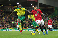 Ibrahim Amadou of Norwich City and Anthony Martial of Manchester United during the Premier League match between Norwich City and Manchester United at Carrow Road on October 27th 2019 in Norwich, England. (Photo by Matt Bradshaw/phcimages.com)<br /> Foto PHC/Insidefoto <br /> ITALY ONLY
