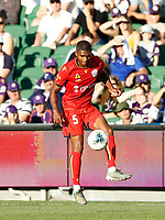 11th January 2020; HBF Park, Perth, Western Australia, Australia; A League Football, Perth Glory versus Adelaide United; Michael Maria of Adelaide United traps the high ball - Editorial Use