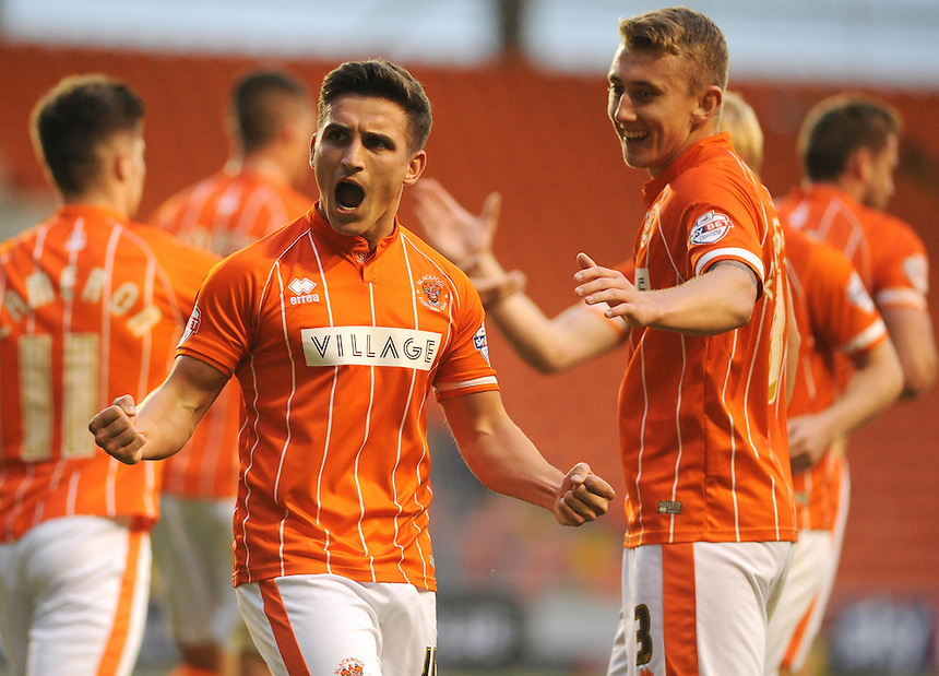 GOAL CELEBRATION - Blackpool's Jack Redshaw celebrates scoring the opening goal <br /> <br /> Photographer Kevin Barnes/CameraSport<br /> <br /> Football - The Football League Sky Bet League One - Blackpool v Burton Albion - Tuesday 18th August 2015 - Bloomfield Road - Blackpool<br /> <br /> &copy; CameraSport - 43 Linden Ave. Countesthorpe. Leicester. England. LE8 5PG - Tel: +44 (0) 116 277 4147 - admin@camerasport.com - www.camerasport.com