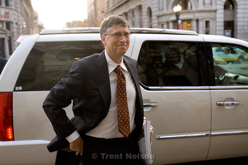Trent Nelson  |  The Salt Lake Tribune.Bill Gates arrives at the Frank E. Moss United States Courthouse in Salt Lake City, Utah, Tuesday, November 22, 2011 for his second day of testimony in a lawsuit between Novell and Microsoft.