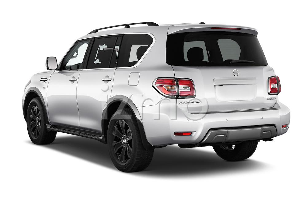 Car pictures of rear three quarter view of 2017 Nissan Armada Platinum 5 Door SUV Angular Rear