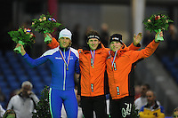 SCHAATSEN: HEERENVEEN: Thialf, KPN NK Sprint, 30-12-11, Michel Mulder, Stefan Groothuis, Pim Schipper, ©foto: Martin de Jong.