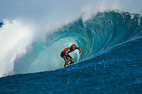 Teahupoo, Tahiti Iti, French Polynesia. Thursday 16 August 2012. Owen Wright (AUS). The Billabong Pro Tahiti got underway today in 3'-4' surf at Teahupoo. Round One was completed and two heats of Round Two rounded out the day. Conditions varied throughout the day with a slide cross shore wind affecting the wave quality at times. There were also some clean barrels on offer.  Photo: joliphotos.com