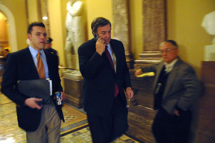 Presidential candidate Rep. Duncan Hunter, R-Calif., walks through the senate luncheons.