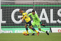 Blackpool's Christoffer Mafoumbi saves from Oxford United's Gino van Kessel<br /> <br /> Photographer Mick Walker/CameraSport<br /> <br /> The EFL Sky Bet League One - Oxford United v Blackpool - Saturday 6th January 2018 - Kassam Stadium - Oxford<br /> <br /> World Copyright &copy; 2018 CameraSport. All rights reserved. 43 Linden Ave. Countesthorpe. Leicester. England. LE8 5PG - Tel: +44 (0) 116 277 4147 - admin@camerasport.com - www.camerasport.com