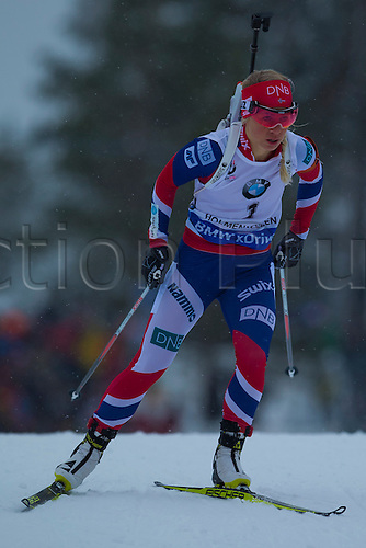 06.03.2016. Oslo Holmenkollen, Oslo, Norway. IBU Biathlon World Championships. Tiril Eckhoff of Norway competes in the ladies 10km pursuit competition during the IBU World Championships Biathlon in Holmenkollen Oslo, Norway.
