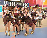 NYC; New York; U.S.; 21st May 2013.; Wearing old-fashioned dance clothes in Times Square; these women are humorously posing and handing out flyers to the Off-Broadway show 'Around the World in 80 Days' during a pleasant spring day; with a high of 86ºF/32ºC; in Manhattan.