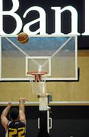 Taranaki's Aaron Bailey-Nowell takes a penalty shot. NBL - Taranaki Mountainairs v Nelson Giants at TSB Stadium, New Plymouth, New Zealand on Thursday, 28 April 2011. Photo: Dave Lintott / lintottphoto.co.nz