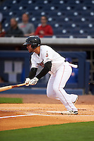 Nashville Sounds third baseman Renato Nunez (34) at bat during a game against the Iowa Cubs on May 3, 2016 at First Tennessee Park in Nashville, Tennessee.  Iowa defeated Nashville 2-1.  (Mike Janes/Four Seam Images)