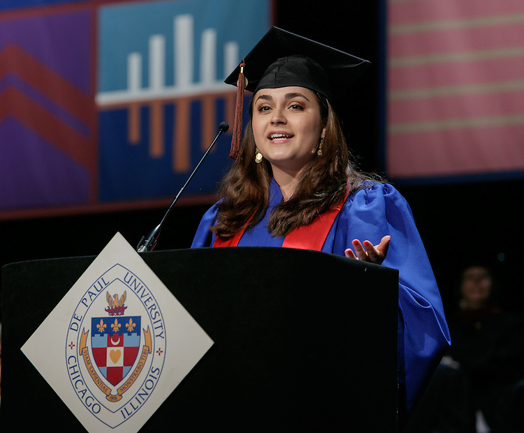 Kayla Raelle Holder, student speaker, delivers the student address at the DePaul University School of Music and The Theatre School commencement ceremony, Saturday, June 11, 2016, at the Rosemont Theatre in Rosemont, IL, where some 180 students received their degrees. The Rev. Dennis H. Holtschneider, C.M., president of DePaul, conferred the degrees and Todd London, writer, scholar and theatre advocate addressed the graduating class and received an honorary degree. (DePaul University/Jeff Carrion)