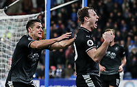 Burnley's Ashley Barnes celebrates scoring his side's second goal with team mate Ashley Westwood <br /> <br /> Photographer Andrew Kearns/CameraSport<br /> <br /> The Premier League - Huddersfield Town v Burnley - Wednesday 2nd January 2019 - John Smith's Stadium - Huddersfield<br /> <br /> World Copyright © 2019 CameraSport. All rights reserved. 43 Linden Ave. Countesthorpe. Leicester. England. LE8 5PG - Tel: +44 (0) 116 277 4147 - admin@camerasport.com - www.camerasport.com