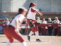 NWA Democrat-Gazette/CHARLIE KAIJO Oklahoma pitcher Mariah Lopez (42) throws a pitch during a softball match, Sunday, October 28, 2018 at Bogle Park, University of Arkansas in Fayetteville.<br />