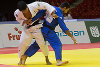 Alan Khubetsov (in blue) of Russia and Kenya Kohara (in white) of Japan fight during the Men -81 kg category at the Judo Grand Prix Budapest 2018 international judo tournament held in Budapest, Hungary on Aug. 11, 2018. ATTILA VOLGYI