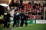 Middlesbrough 1 Preston North End 1, 22/01/2011. Riverside Stadium, Championship. Recently-appointed Preston North End manager Phil Brown having an altercation with referee Mick Russell at the Riverside Stadium during his team's away match at Middlesbrough in an Npower Championship fixture. The match ended in a one-all draw watched by a crowd of 16,157. Middlesbrough relocated from their former home at Ayresome Park in 1995. Photo by Colin McPherson.