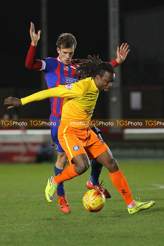 Marcus Bean of Wycombe Wanderers evades Christian Doidge of Dagenham and Redbridge during Dagenham and Redbridge vs Wycombe Wanderers, Sky Bet League 2 Football at the Chigwell Construction Stadium,