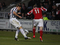 Paul Dummett tackles Jonny Hayes in the St Mirren v Aberdeen Clydesdale Bank Scottish Premier League match played at St Mirren Park, Paisley on 9.11.12.