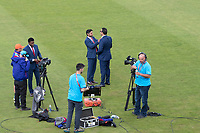 Kumar Sangakkara tidies Wasim Akram's ties before they present for Star India at the abandonment of the game during Pakistan vs Sri Lanka, ICC World Cup Cricket at the Bristol County Ground on 7th June 2019