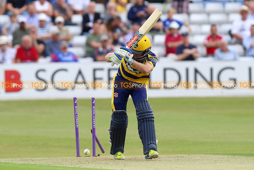 Mark Wallace of Glamorgan is bowled out by Ravi Bopara during Essex Eagles vs Glamorgan, Royal London One-Day Cup Cricket at the Essex County Ground on 26th July 2016