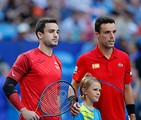 4th January 2020; RAC Arena, Perth, Western Australia; ATP Cup Australia, Perth, Day 2; Spain versus Georgia; Aleksandre Metreveli of Georgia and Roberto Bautista Agut of Spain pose for a photograph before the start of their match - Editorial Use