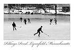 (Lynnfield, MA, 02/16/16) Skaters play hockey on a frozen Pillings Pond in Lynnfield, Mass., on Tuesday, February 16, 2016. Staff photo by Christopher Evans
