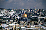 Israel, Snow over Temple Mount and the Old City of Jerusalem