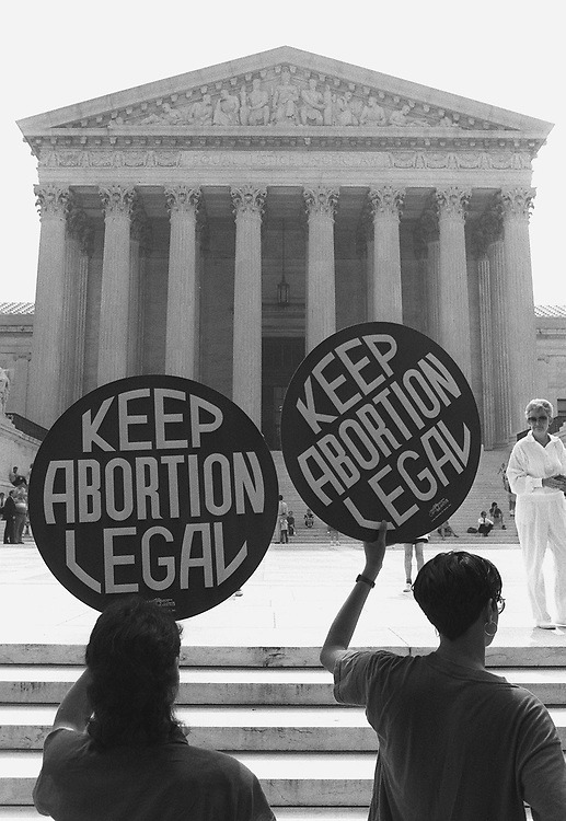 6/26/89.ABORTION--Abortion advocates rally outside the U.S. Supreme Court..CONGRESSIONAL QUARTERLY PHOTO BY R. MICHAEL JENKINS