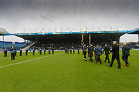 Members of the armed forces walk on the pitch prior to the Sky Bet Championship match between Sheffield Wednesday and Swansea City at Hillsborough Stadium, Sheffield, England, UK. Saturday 09 November 2019