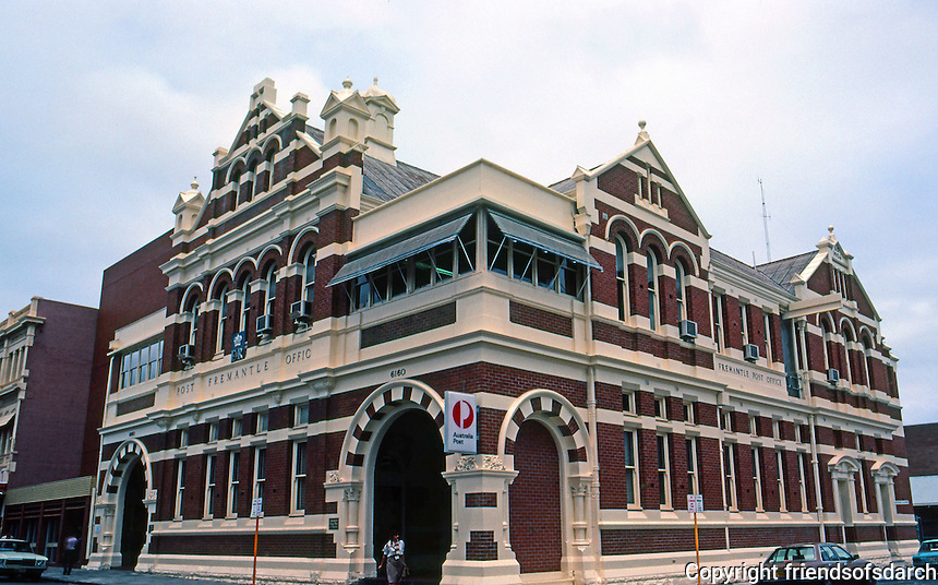 Fremantle: Post Office. Hillson Beasley, 1907.  Beasley was noted for his 'blood and bandages' style of red brick public architecture.  Photo '82.