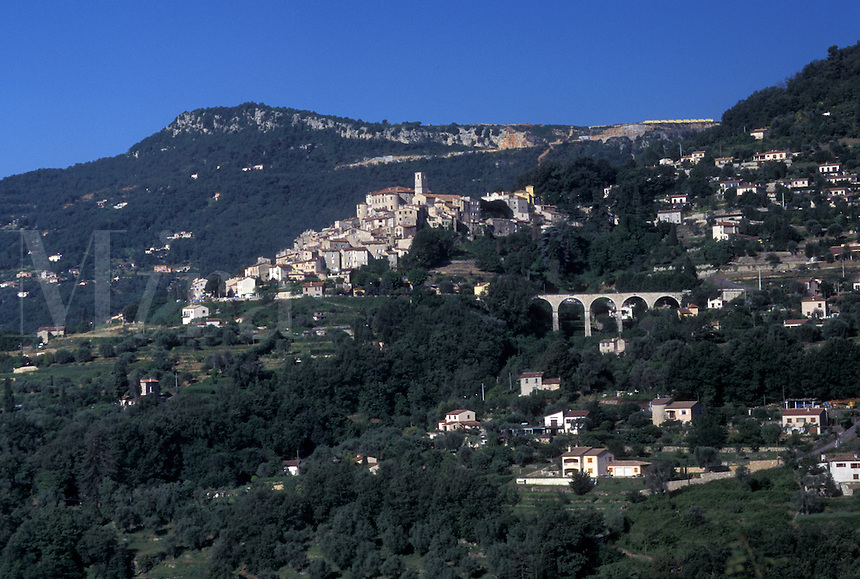 France, Le Bar, Cote d' Azur, Provence, Alpes-Maritimes, Europe, Scenic view of the hilltop village of Le Bar in the Provencal countryside of France.