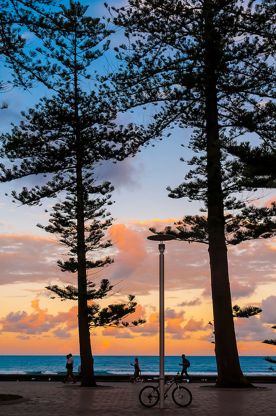 People walking along the path by the beach at sunset, Manly Beach, Sydney, New South Wales, Australia