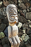 Close up of wooden scalupture, Pu'uhonua O Honaunau National Historical Park, South Kona, Big Island, Hawaii.