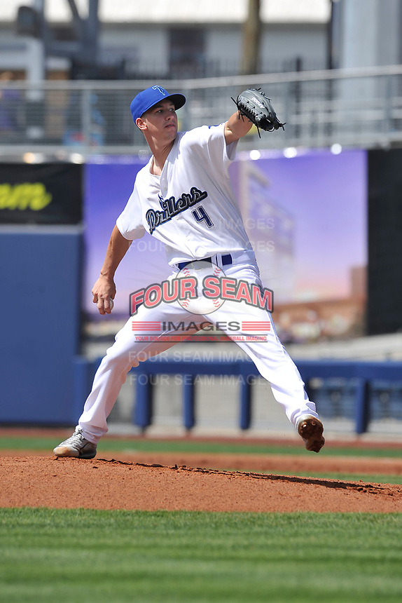 Tulsa Drillers starting pitcher Walker Buehler (4) throws during a game against the Arkansas Travelers at Oneok Field on May 22, 2017 in Tulsa, Oklahoma.  Arkansas won 5-4.  (Dennis Hubbard/Four Seam Images)