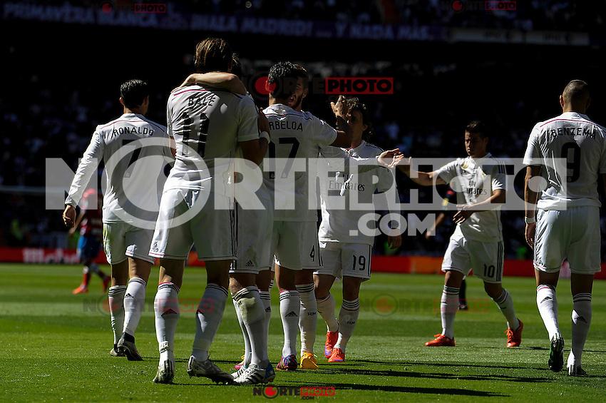 Real Madrid´s players celebrates a goal during 2014-15 La Liga match between Real Madrid and Granada at Santiago Bernabeu stadium in Madrid, Spain. April 05, 2015. (ALTERPHOTOS/Luis Fernandez) /NORTEphoto.com