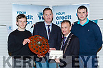 Tim Murphy County Board Chairman and John Long Chairman of Chapter 23 Credit Union presented Rathmore  the Division 5 Champions their prize money in Killarney on Monday night l-r: Anto Kelliher Tim Murphy County Board Chairman and John Long Chairman of Chapter 23 Credit Union and Thomas Rohan