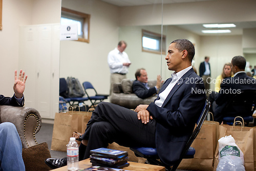 Belgrade, MT - August 14, 2009 -- United States President Barack Obama meets with Montana Governor Brian Schweitzer following a town hall meeting on health care insurance reform in Belgrade, Montana, August 14, 2009..Mandatory Credit: Pete Souza - White House via CNP