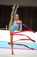 01 OCTOBER 1999 - OSAKA, JAPAN: Irina Tchachina of Russia performs with Ribbon at the 1999 World Championships in Osaka, Japan. Irina went on to become 2004 Athens Olympic silver medalist.