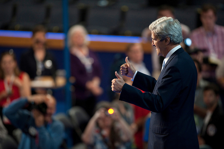 UNITED STATES - September 5: Sen. john Kerry, D-Mass., takes a test run before tonights program and gets some pointers form a stage manager at the Democratic National Convention in the Time Warner Cable Arena in Charlotte, North Carolina. The Democratic National Convention is in its 2nd day and runs through September 6th. (Photo By Douglas Graham/CQ Roll Call)