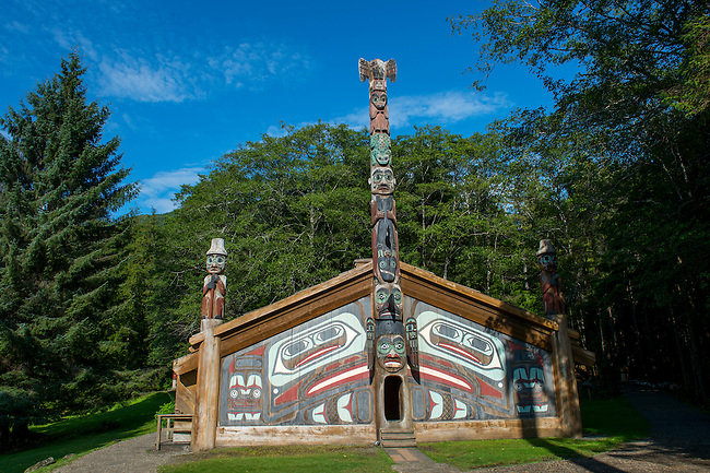 View of the clan house at the Totem Bight State Historical Park in Ketchikan, Southeast Alaska, USA.