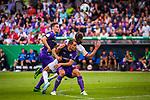 11.08.2019, Stadion an der Bremer Brücke, Osnabrück, GER, DFB Pokal, 1. Hauptrunde, VfL Osnabrueck vs RB Leipzig, DFB REGULATIONS PROHIBIT ANY USE OF PHOTOGRAPHS AS IMAGE SEQUENCES AND/OR QUASI-VIDEO<br /> <br /> im Bild | picture shows:<br /> Yussuf Poulsen (RB Leipzig #9) versucht sich zu befreien, <br /> <br /> Foto © nordphoto / Rauch