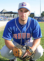 July 19, 2003:  Catcher Jeremy Knicely of the Auburn Doubledays, Class-A affiliate of the Toronto Blue Jays, during a game at Dwyer Stadium in Batavia, NY.  Photo by:  Mike Janes/Four Seam Images