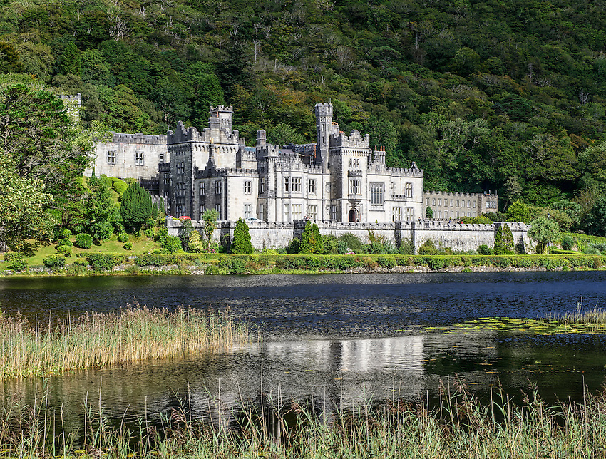 A view of Kylemore Abbey, Connemara, Galway County, Ireland. Constructed in 1867 by Mitchell Henry, an industrial tycoon and politician, for his wife Margaret; it became an abbey sheltering Benedictine nuns in 1920, several years after Henry's death.